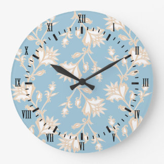 Vintage Style Cream and Blue Victorian Floral Large Clock