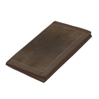 Vintage style dark brown leather look trifold wallet