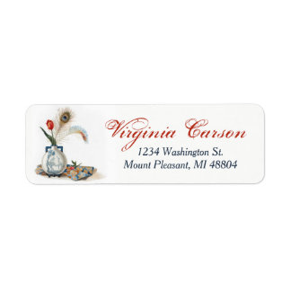 Vintage Style Feathers Tulip Vase Address Labels