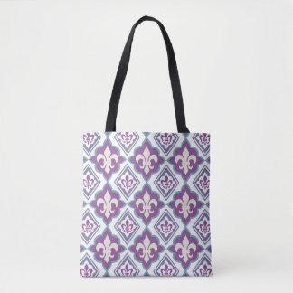 Vintage Style Fleur de Lis Patterned Tote Bag