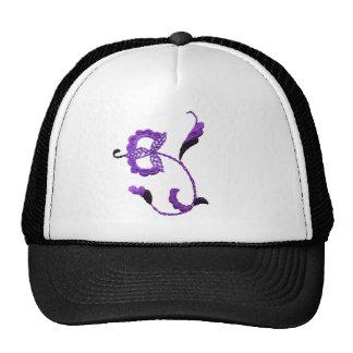 Vintage Style Floral Motif in Purple Plum Cap