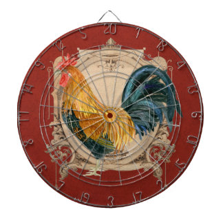 Vintage Style French Country Rustic Barn Rooster Dartboard With Darts