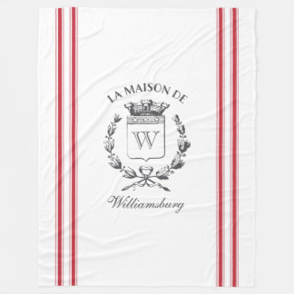 Vintage Style French Red Ticking Tape Family Crest Fleece Blanket