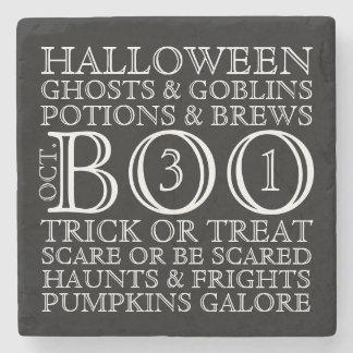 Vintage Style Halloween Typography Coaster - B&W Stone Beverage Coaster