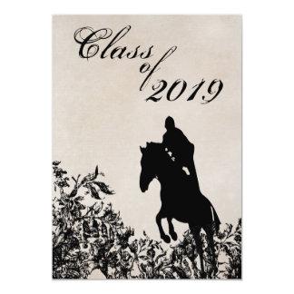 Vintage Style Horse Jumping Graduation Invitation