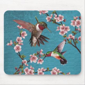 Vintage Style Hummingbird Painting Mouse Pad