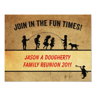 Vintage Style Jumprope Silhouette Family Reunion Card
