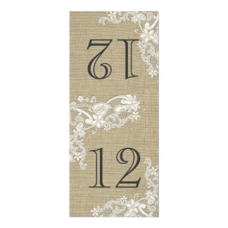 "Vintage Style Lace Design Table Number 4"" X 9.25"" Invitation Card"