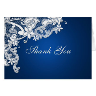 Vintage Style Lace Thank You Sapphire Blue Note Card