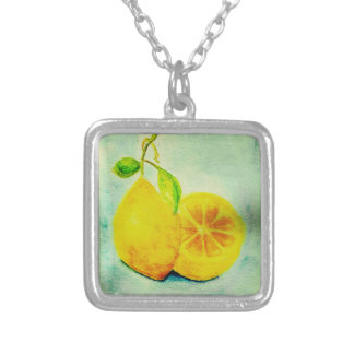 Vintage Style Lemons Square Pendant Necklace