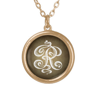 Vintage-Style Letter R Monogram Initial Charm Round Pendant Necklace