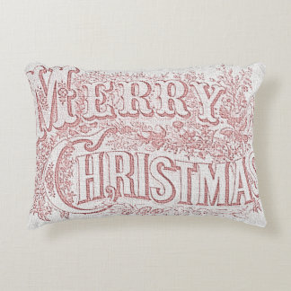 Vintage Style Merry Christmas Accent Cushion