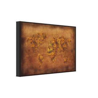 Vintage-style New World Map Art Print Gallery Wrap Canvas
