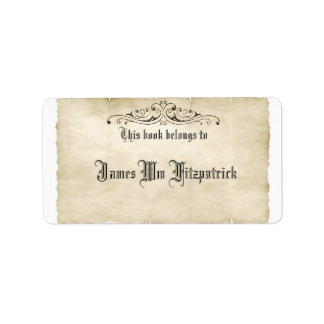 Vintage Style Old Parchment Add Your Name Label Address Label