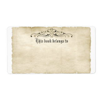Vintage Style Old Parchment Add Your Name Label Shipping Label