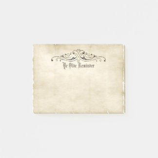 """Vintage Style Old Parchment """"Ye Olde Reminder"""" Post-it Notes"""