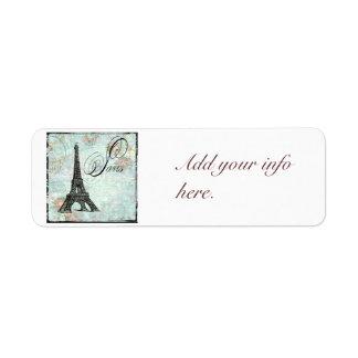 Vintage Style Paris Eiffel Tower Return Address Label