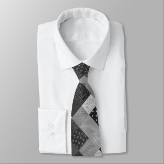 vintage style patchwork fabric black and white tie
