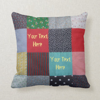 vintage style patchwork fabric design colorful cushion