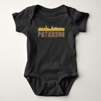 Vintage Style Paterson New Jersey Skyline Baby Bodysuit