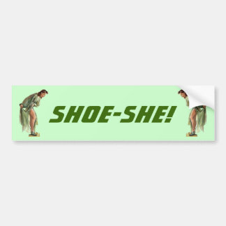 Vintage Style Pin-up with New Shoes Bumper Sticker Car Bumper Sticker