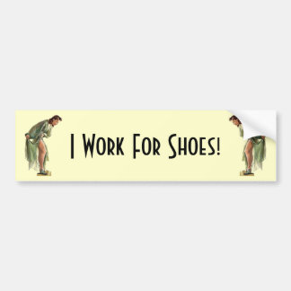 Vintage Style Pin-up with New Shoes Bumper Sticker