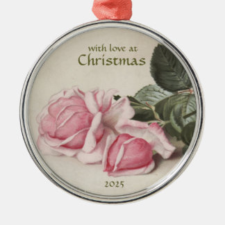 Vintage Style Pink Roses - Round Ornamnet Silver-Colored Round Decoration