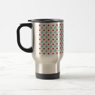 Vintage Style Print Red Dot Blue Bell Travel Mug