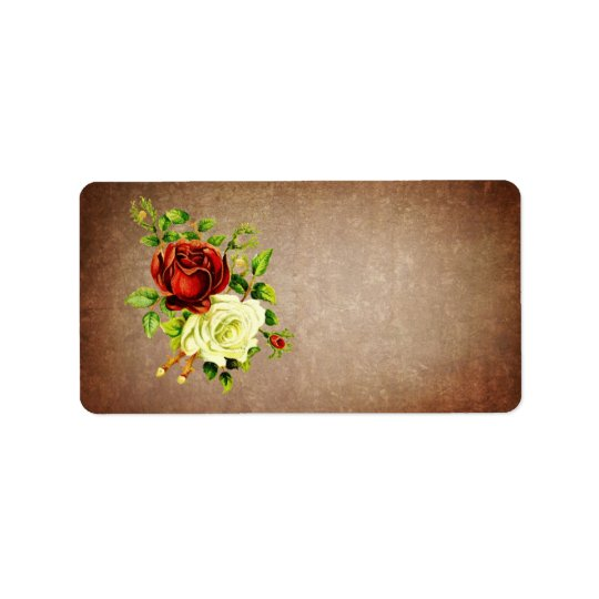Vintage style red and yellow roses address label