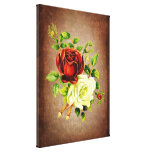 Vintage style red and yellow roses gallery wrapped canvas