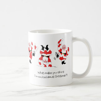 Vintage Style Santa Claus Excited About Christmas Basic White Mug