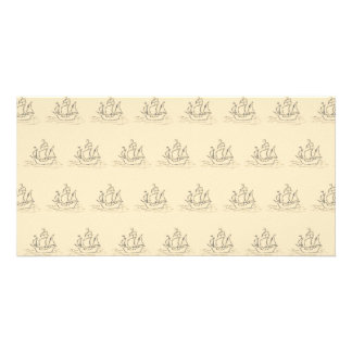 Vintage Style Ship Pattern, Beige Color. Personalized Photo Card
