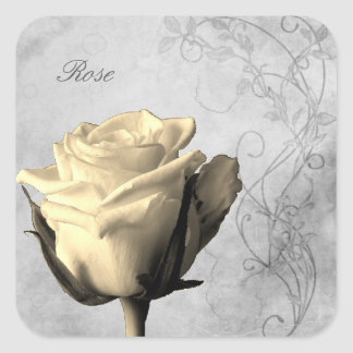 Vintage Style Single Rose Shabby Square Sticker