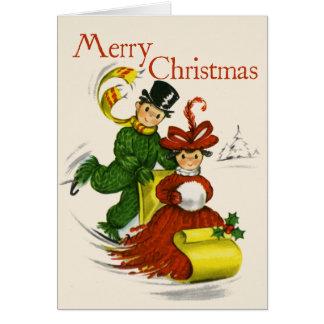 Vintage-Style Sledding Couple Christmas Card