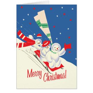 Vintage-Style Sledding Snowmen Christmas Card