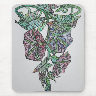 Vintage Style Stained Glass Morning Glory Mouse Pads
