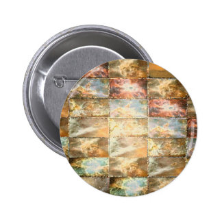 Vintage Style STAINED GLASS Tile Work 6 Cm Round Badge