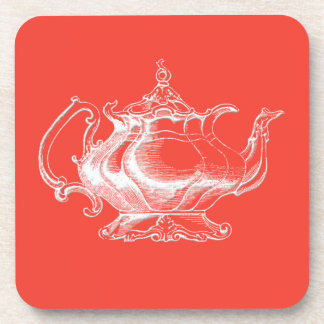 Vintage style Tea Pot on red coaster set of 6