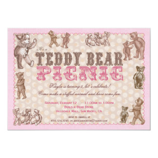 Vintage Style Teddy Bear Picnic Invitation - Pink