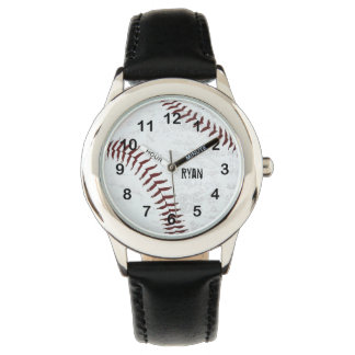 vintage styled baseball ball - red stitching wrist watches