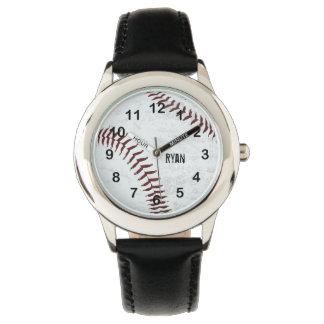 vintage styled baseball ball - red stitching wrist watches