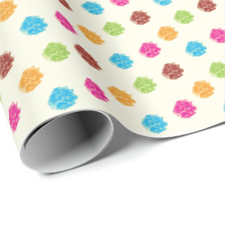 Vintage Styled Scribbles Polka Dots Wrapping Paper