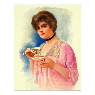 Vintage Stylish Lady Tea Party Invitations Invites