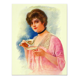 Vintage Stylish Lady Tea Party Invitations Invites