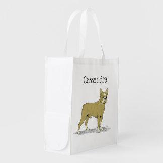 Vintage Stylized French Bulldog C Reusable Grocery Bag