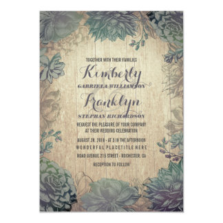 Vintage Succulents Rustic Wedding Card