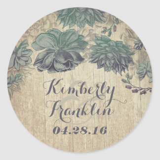Vintage Succulents Rustic Wedding Round Sticker