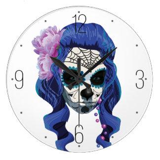 Vintage sugar skull girl with roses clock