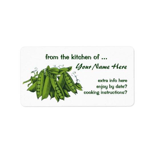 Vintage Sugar Snap Peas, Foods, Healthy Vegetables Label