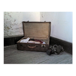 Vintage  Suitcases/Gas Mask Poscard Postcard